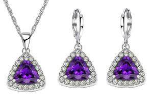 925 Sterling Silver Gorgeous Trillion Amethyst Earrings Necklace Jewellery Set