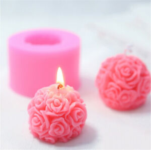 Style 1 tiaomao11 Valentine Wedding DIY Craft Epoxy Resin Clay Tools 3D Silicone Candle Mold Rose Flower Mold Wax Model Soap Mould