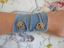 Diamante crâne & Chaîne en Coton Bleu Denim wrap amitié bracelet band choochie