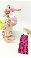 Betsey Johnson Necklace SEAHORSE CRYSTALS Pink Gold  Summer