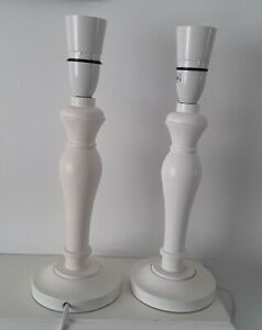 2 White Wooden Table Lamp Bases Ivory Stands Desk Bedside Modern Retro Pair deco
