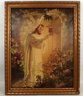 "ESTATE Vtg 1942 Warner Sallman ""Christ at Door"" Lithograph Picture w Wood Frame"