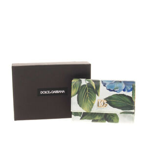 RRP€380 DOLCE & GABBANA Dauphine Leather Trifold Wallet Floral Print Coin Pocket