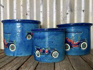 3x RIMINI BLUE POTTERY PLANTERS Automobiles ALDO LONDI Bitossi ROSENTHAL NETTER