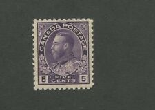 King George V 1922 Canada 5c Violet Postage Stamp #112 Value $100