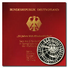 Germany  Orphans' Charity 10 Mark 1999 A-D-F-G-J 5 Proof Silver Coin Folder