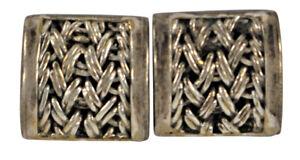 Sterling Silver 925 Square Pierced Earrings 12g Vintage Designer Indonesia