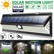 1000LM&118LED Solar PIR Motion Sensor Light Outdoor Garden Yard Lamp Waterproof