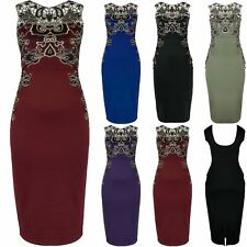 Womens Ladies Floral Gold Lace Trim Low Back Stretchy Bodycon Midi Party Dress