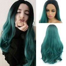 24inch Synthetic hair Lace front wigs  Full Head Long Curly Wavy Black to Green