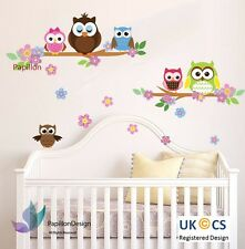 Chouette Animal Fleur Nursery Kids Baby Girl Boy Autocollant Mural Papier Décalque Art Décor
