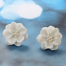 Lovely White Flower Pearl Pendant Circle Stud Earrings Fashion Jewelry for Women