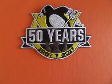 PITTSBURGH PENGUIN 50 YEARS YELLOW & BLACK EMBROIDERED IRON ON PATCH 2-1/2 X 3