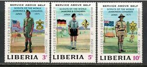 Liberia # 563 through # 565 Boy Scout Jamboree , VF OG NH - I Combine S/H