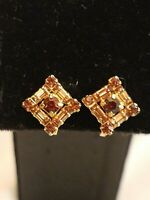 Vintage Rhinestone Screw Back Earrings Weiss Amber Color Yellow Gold Tone Square