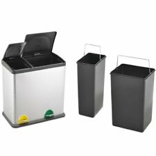 36L Stainless Steel Multi 2 Compartment Large Recycle Pedal Bin Recycling 12+24L