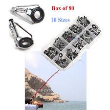 80Pcs 10 Size Fishing Rod Guide Tip Top Set Ceramic Rings Freshwater Repair Tool