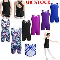 UK Kids Girls Gymnastics Leotard Dress Ballet Dance Tutu Skirt Dancewear Costume