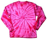 Spider Pink Long Sleeve Tie Dye T-Shirt Adult S - 3X 100% Pre-Shrunk Cotton