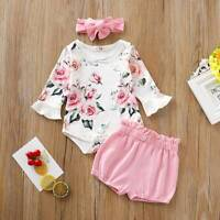 Summer Infant Baby Girls Floral Outfits Long Sleeve Tops Romper Shorts 3PCS Set