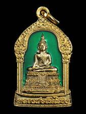 THAI AMULET BUDDHA LP WAT RAIKHING GREEN ENAMEL PENDANT DECORATIVE NECKLACE GIFT