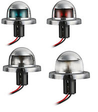 4 Feux de Navigation ABS Chromé Vert + Rouge + Blanc Poupe + Blanc Proue Bateau