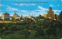 Linen Postcard CA D424 Skyline From Inspiration Point San Diego Balboa Park 1948