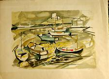 Lithographie Originale E A Jacques Despierre Santorin Village et Barques Grèce