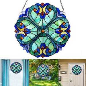 10inch Vintage Style Colorful Stained Glass Window Panel Suncatcher Decor Home