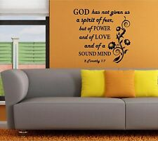 Wall Decal. Inspirational Decal. Bible Scipture. 2 Timothy 1:7 Spirit of Love