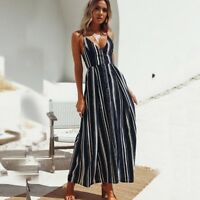 Summer Women's V-neck Boho Dress Stripes Spaghetti Strap Loose Casual Dresses