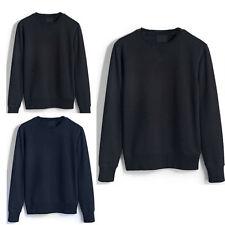 Mens Plain Sweatshirt Jersey Jumper Sweater Pullover Work Casual Leisure Top