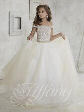 Tiffany Princess 13457 Champagne White Girls Pageant Gala Gown Dress sz 12