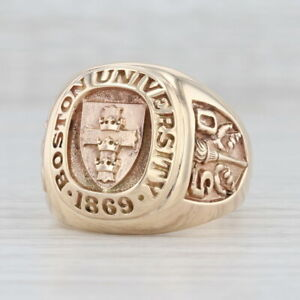 Boston University 1950 Class Ring 10k Yellow Gold Size 10.5 Men's Signet