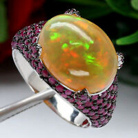 NATURAL 11 X 14 mm. WHITE RAINBOW OPAL & RED BURMA RUBY RING 925 STERLING SILVER