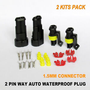 2x Kits 1.5MM 2 PIN WAY Waterproof Auto Electrical Sealed Wire Connector Plug