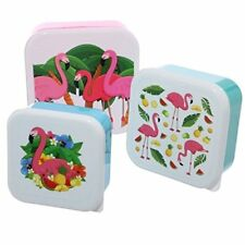 Puckator 3 x Flamingo Lunchboxes Lunch Snack School Work Multi Colour Plastic
