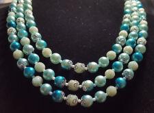 Vintage Art Glass Sugar Glass Faux Pearl 3 Strand Bib Necklace JAPAN