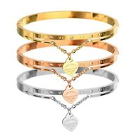 Forever Love Heart Bracelet Rhinestone Open Bangle Cuff Bangles for Women