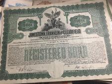 9 (Nine) Gold Bonds, Jamestown, Franklin & Clearfield Railway Company.
