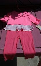 New set Cherokee 18 months Girls long sleeve Blouse Top and Leggings pink color