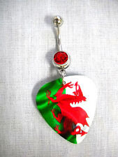 NEW WELSH DRAGON UK FLAG GREEN WHITE RED PRINTED GUITAR PICK RED CZ BELLY RING