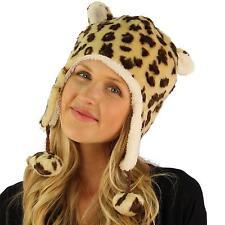 Faux Fake Fur Animal Print Leopard Trooper Trapper Fleece Ski Pom pom Hat Brown