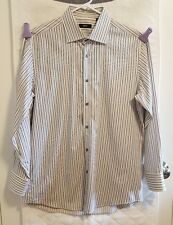 Hugo Boss Mens Size 42 16.5 Button Down Gray Pink Striped Dress Shirt