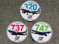 Boeing Airbus Sticker Lot United 747,737,320