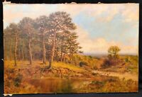 19th Century British Forest Landscape Oil Painting by William LANGLEY 1880-1920