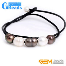 """9-10mm Fashion Jewelry 5 Pearls Lack Rope Necklace Strand 17.5"""" Adjustable Size"""