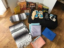 HUGE LOT 21 PIECES YOGA ITEMS: BOOKS, DVD'S, PILLOWS, TOWELS, BLOCKS & MORE