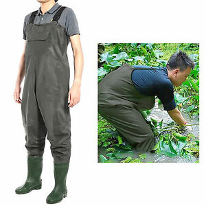 PVC Waterproof Chest Waders Carp Fly Coarse Fishing Green With Boot