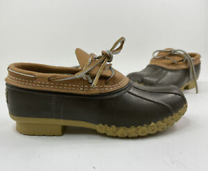 New Women's LL Bean Tan Leather Duck Shoes w/Brown Rubber 175067 USA  Size 7